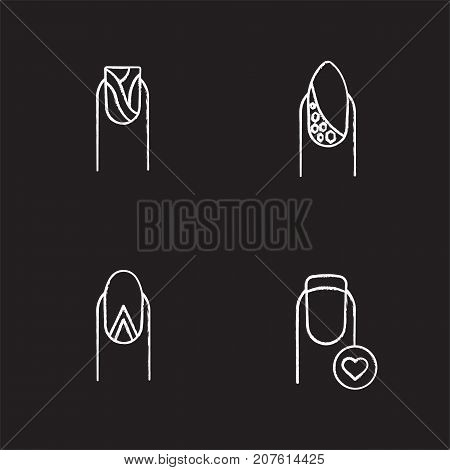 Manicure chalk icons set. Water marbling, geometric moon manicure, nails with rhinestones and heart shape. Isolated vector chalkboard illustrations