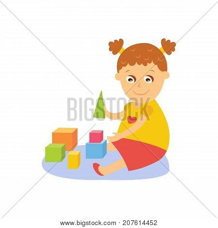 Little girl playing with wooden blocks, cubes and pyramids, sitting on the floor, flay comic style cartoon vector illustration isolated on white background. Cartoon little girl playing with toy blocks