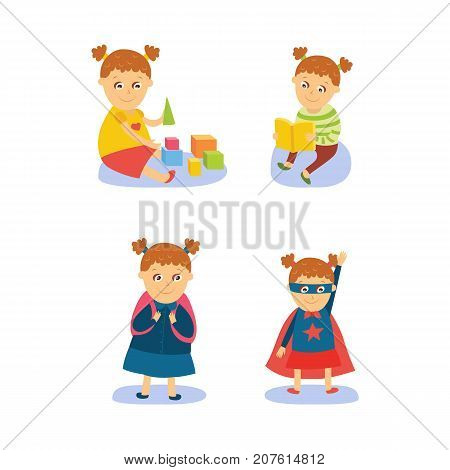 Little girl reading, playing, going to school and wearing superhero costume, flat, comic cartoon vector illustration isolated on white background. Flat cartoon little girl doing various activities