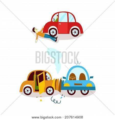 vector flat car , accident set. Side vehicle collision, both vehicle have broken glasses smoke from hood, predestrian accident. Isolated illustration on a white background