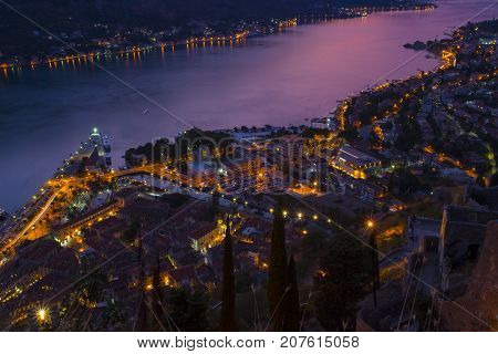 Montenegro. the city of Kotor. Evening. View of the old town. sunset. Boka-Kotor Bay.
