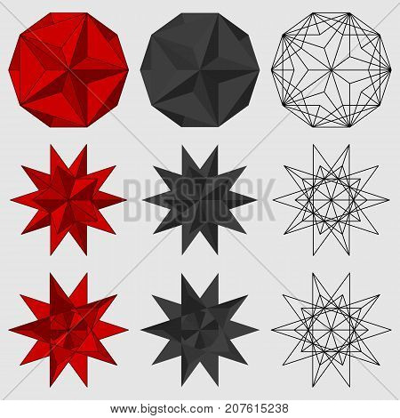 Set of three-dimensional geometric figures. Great dodecahedron. Great stellated dodecahedron. Vector illustration.