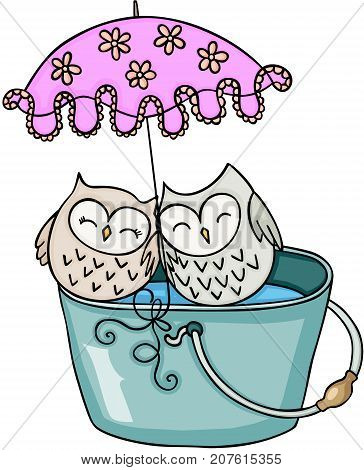 Scalable vectorial image representing a cute couple owl with umbrella on bucket of water, isolated on white.
