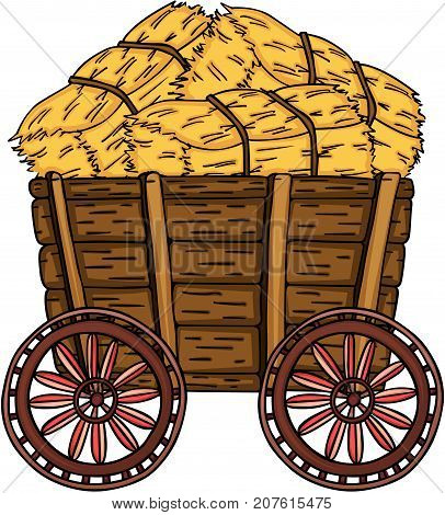 Scalable vectorial image representing a wooden trolley full with bale of hay, isolated on white.