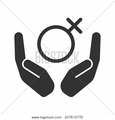 Open palms with female symbol glyph icon. Silhouette symbol. Women's health care. Negative space. Vector isolated illustration