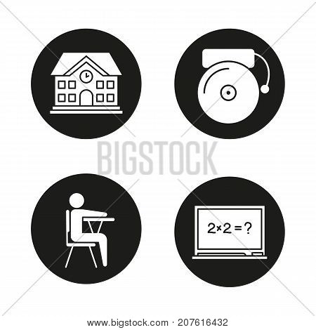 School and education glyph icons set. School building, bell, pupil sitting in classroom, blackboard. Vector white silhouettes illustrations in black circles