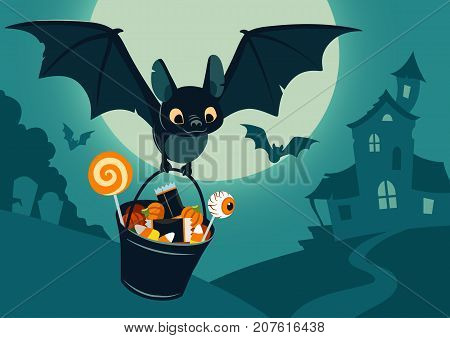 Vector illustration of nighttime Halloween scene cute bat flying with bucket full of candy with full moon haunted house forest cemetery in the background. Flyer banner poster or card template.