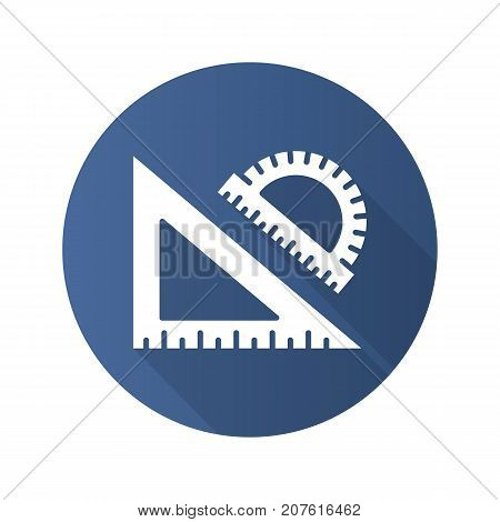 School rulers flat design long shadow glyph icon. Protractor and transparent. Vector silhouette illustration