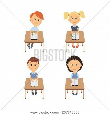 vector flat cartoon cute schoolkids character sitting at desk in elementary school smiling set. Isolated illustration on a white background. Child education, back to school concept