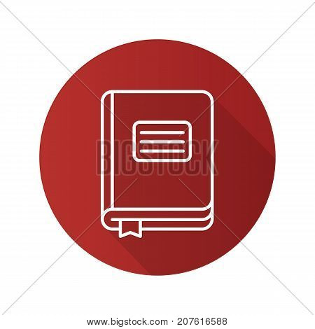 Diary notebook flat linear long shadow icon. School journal with bookmark. Vector outline symbol