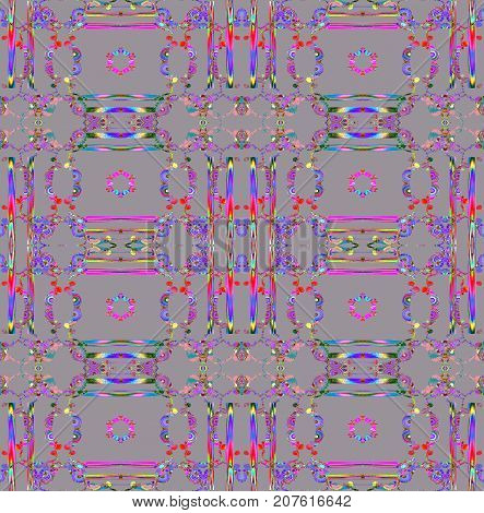 Abstract geometric seamless background. Regular ornaments purple, violet, red, pink and turquoise on gray, ornate and dreamy.