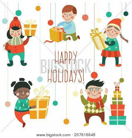 Set of kids, children holding, opening, getting Christmas, New Year presents, gifts, flat cartoon vector illustration isolated on white background. Kids, boys, girls, with Christmas New Year presents