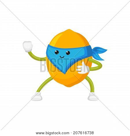 vector flat cartoon lemon character in blue mask standing like ninja. Isolated illustration on a white background. Funny humanized fruit and vegetable super hero protecting people health