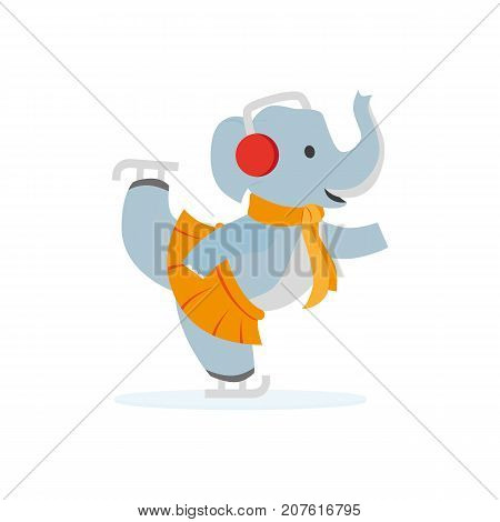 vector flat cartoon elephant character ice skating smiling wearing scarf, skirt warm headphones earmuffs. Winter animal outdoor games, activities concept. Isolated illustrationo on a white background