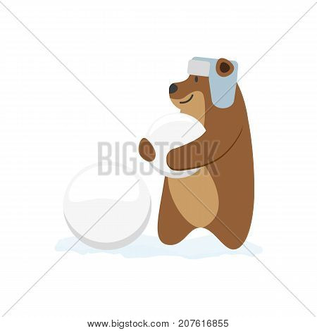 vector flat cartoon brown bear character making ice balls smiling wearing earflap hat. Winter animal outdoor games, activities concept. Isolated illustrationo on a white background