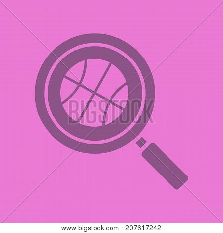 Basketball game search glyph color icon. Silhouette symbol. Magnifying glass with basketball ball. Negative space. Vector isolated illustration