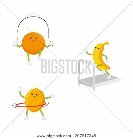 vector flat cartoon funny fruit sport characters set. Cheerful humanized banana, orange, lemon makes exercises with hula hoop, jumping rope, treadmill. Isolated illustration on a white background.