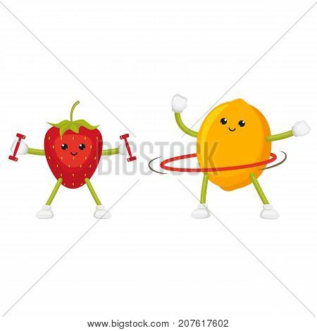 Funny lemon and strawberry training with weights and twirling a hula hoop, flat cartoon vector illustration isolated on white background. Funny fruit characters - apple and lemon, doing sport