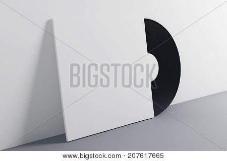 Black and white vinyl sleeve on gray background. Music concept. Mock up 3D Rendering