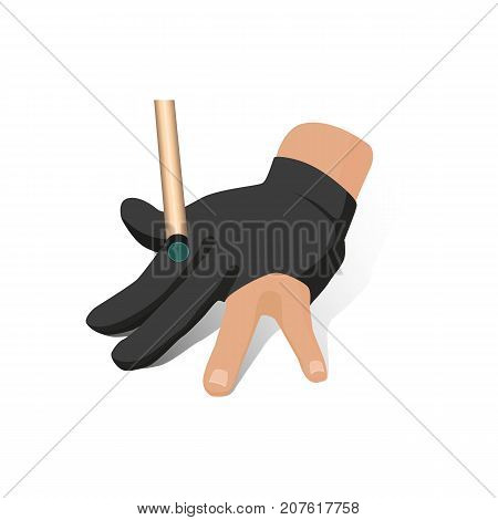 vector flat cartoon style hand in pose in special billiard pool glove with cue stick ready to make shot to a ball. Isolated illustration on a white background.