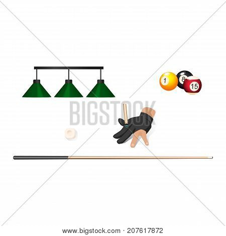 vector flat cartoon billiard snooker, pool equipment objects set. cue stick, pendant lamps, hand in glove, ball with numbers. Isolated illustration on a white background.