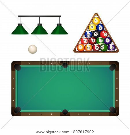 vector flat cartoon billiard snooker, pool equipment objects set. pendant lamps, colored ball pyramid in wooden rack triangle, table and cue white ball. Isolated illustration on a white background.