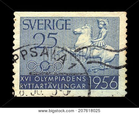 SWEDEN - CIRCA 1956: a stamp printed in the Sweden shows equestrian sports in the Olympic Games, equestrianism made its Summer Olympics debut at the 1900 Summer Olympics in Paris, circa 1956