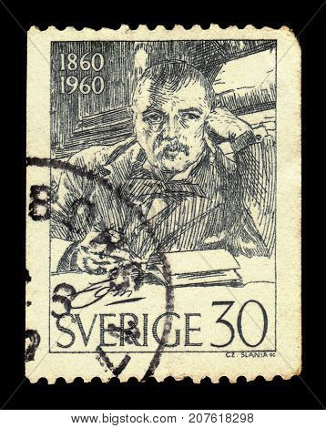 SWEDEN - CIRCA 1960: a stamp printed in the Sweden shows portrait by swedish artist Anders Leonard Zorn, circa 1960