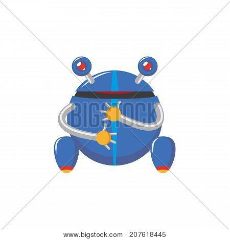 vector flat cartoon funny friendly robot. Frog-like character with rollers or wheels - legs, arms , two antennas - ears. Isolated illustration on a white background. Childish futuristic android.