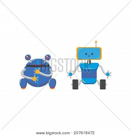 vector flat cartoon funny friendly blue robots with legs - rollers, arms antennas set. Isolated illustration on a white background. Childish futuristic android.