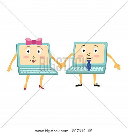 Couple of funny cartoon laptop computer characters, male and female, holding hands, vector illustration isolated on white background. Two cartoon laptop computer characters wearing tie and high heels