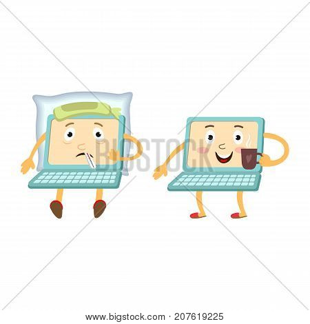 Couple of cartoon laptop computer characters, sick and healthy, vector illustration isolated on white background. Two cartoon laptop computer characters, one sick with temperature, another healthy
