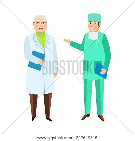 Two male doctors, therapist and surgeon, medical staff, hospital employees, flat cartoon vector illustration isolated on white background. Flat cartoon doctors in white gown and medical overalls
