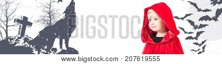 Happy Halloween. Little Red Riding Hood. Beautiful little girl in a red raincoat with a hood.