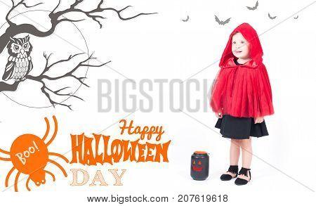 Halloween Costume. Little Red Riding Hood. Beautiful Little Girl
