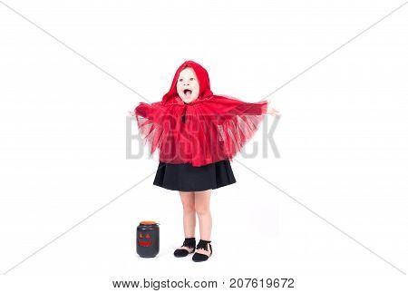 Little Red Riding Hood. Beautiful Little Girl In Halloween Costume.