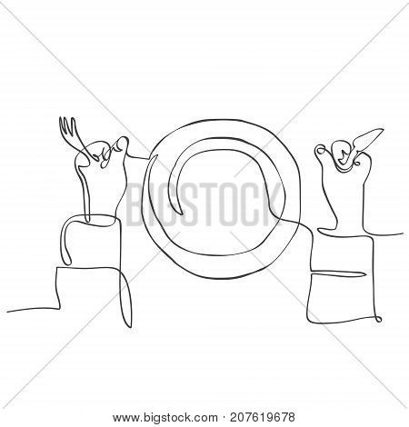 background with plate and hands holding fork and knife. Continuous line drawing cutlery: fork plate knife. Simple Icon.