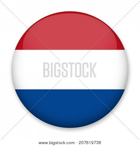 Flag of Netherlands in the form of a round button with a light glare and a shadow. The symbol of Independence Day, a souvenir, a button for switching the language on the site, an icon.
