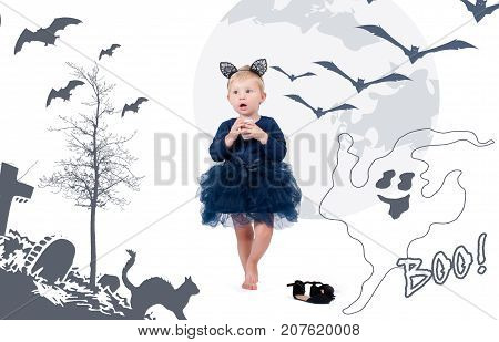 Halloween Costume.  Little Toddler Girl In Costume Cat