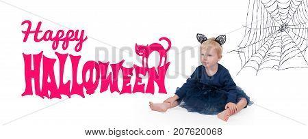 Halloween Costume. Little Girl In Costume Cat For Halloween