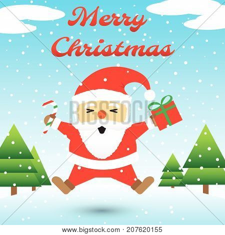 Vector Illustration Of Merry Christmas Red Chubby Santa Claus Is Holding A Candy Cane And A Gift Box And Jumping Happily Among Snow On Icy Ground With Blue Background And Christmas Trees
