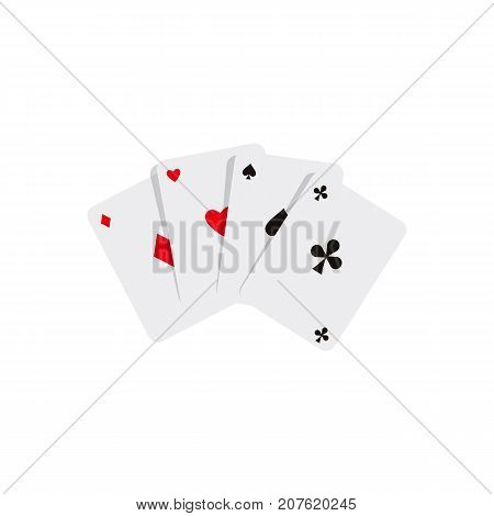 vector flat cartoon four aces poker cards spades diamonds clubs hearts. Isolated illustration on a white background. Sign of profit, easy money. Jackpot, bingo casino design poster