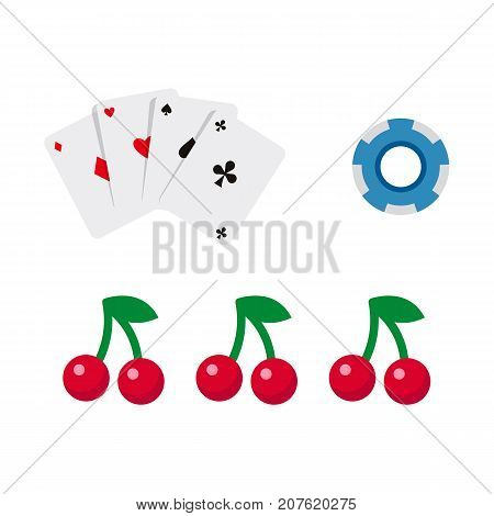vector flat cartoon casino, gambling symbols set. Fruit cherry berry slot mashine jackpot, poker cards all suits, poker coins, chips. Isolated illustration on a white background.