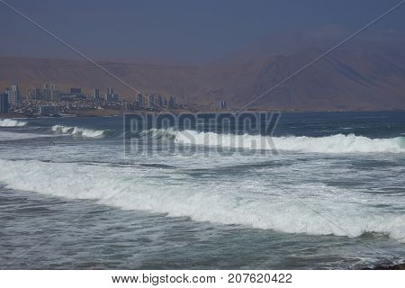 Coastline of the city of Iquique in the Tarapaca Region of northern Chile.