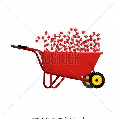 Santa Claus Wheelbarrow And Peppermint Lollipop. Xmas Mint Stick In Grounds Trolley. Christmas And N