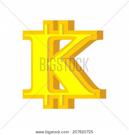 K Letter Bitcoin Font. Cryptocurrency Alphabet. Lettering Virtual Money. Vector Illustration