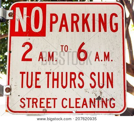 A No parking sign in San Francisco