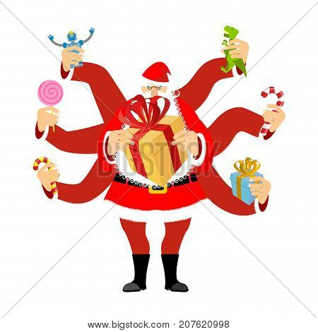 Santa Claus Many Hands. Many Gifts For Christmas. New Year Vector Illustration