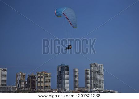 Iquique, Chile - August 28, 2017:  Paraglider coming in to land on Cavancha Beach in the coastal city of Iquique in the Tarapaca Region of northern Chile.