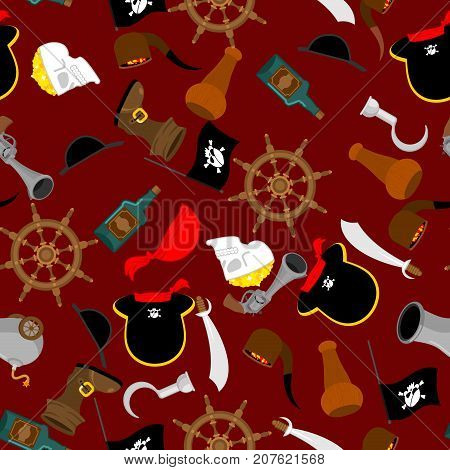 Pirate Seamless Pattern. Piratical Accessory Ornament. Buccaneer Background. Vector Illustration